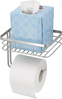 mDesign porte papier toilette avec espace de stockage – distributeur de papier WC en métal – dérouleur de papier toilette ...