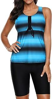 Best Womens Racerback Color Block Print Tankini Swimsuits with Swim Capris S-XXXL Review