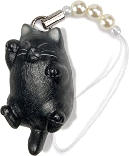 ペットラバーズ 猫どん でぶ猫 黒 ビーズ ストラップ N-2305