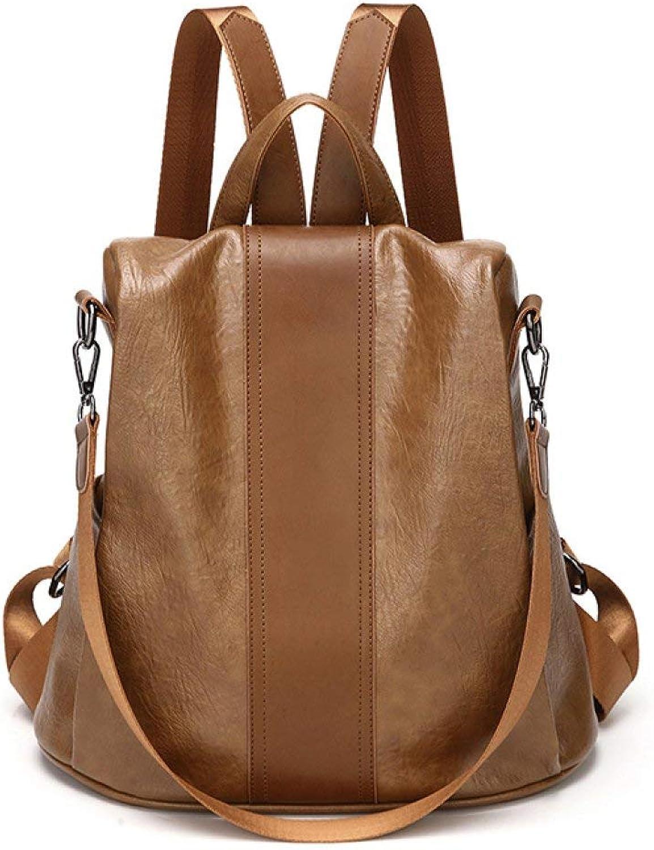 Nvfshreu Handtasche Frauen Damen Art Und Weise Pu Lederne Rucksack Schulter Einfacher Stil Beutel Rucksack Tagesruckscke Gre Reisetasche, (Farbe   braun, Größe   31  15  30cm)