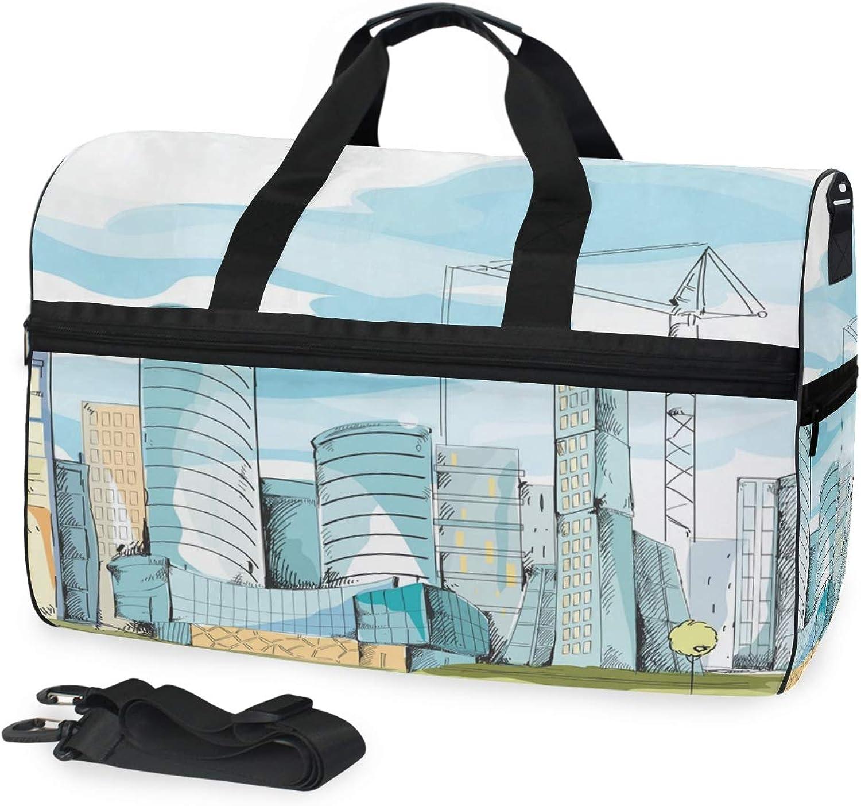 d80d50c4b7e2 FANTAZIO City Scenery Sports Duffle Bag Bag Travel Duffel with Strap ...