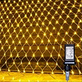 Net Mesh String Lights Waterproof, 200 Light Bulbs, 8 Lighting Modes, for Indoor Outdoor, Curtain, Christmas Tree, Bush, Party, Wedding, Fairy, Wall Decorative (9.8 ft x 6.6 ft, Warm White)