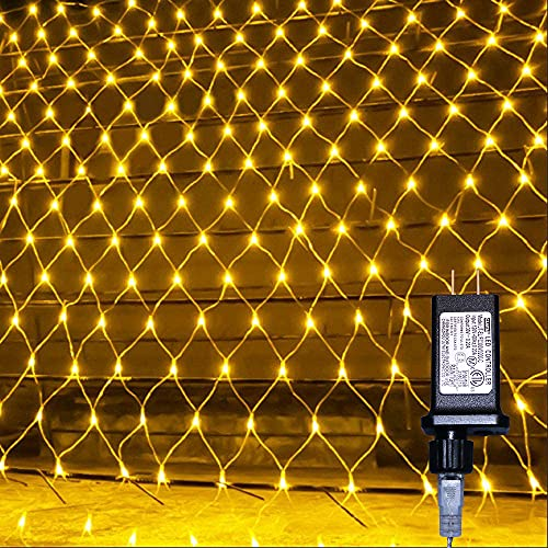 HeKation Net Mesh String Lights, 200 Light Bulbs, 8 Lighting Modes, for Indoor Outdoor, Curtain, Christmas Tree, Bush, Party, Wedding, Fairy, Wall Decorative (9.8 ft x 6.6 ft, Warm White)