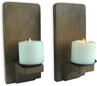 CinMin Rustic Wood Candle Wall Sconce (Natural, 2)