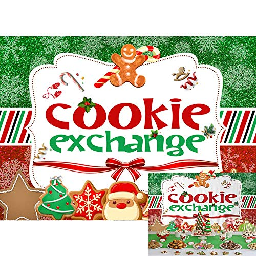 Allenjoy Christmas Cookie Exchange Party Backdrop Red Green Merry Xmas Santa Snowman Cocoa Cookies Family Holiday Party Dessert Table Decor Banner 7x5ft Kids Photography Background Photo Booth Props