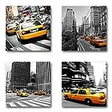 USA New York Taxi - Set B schwebend, 4-teiliges Bilder-Set