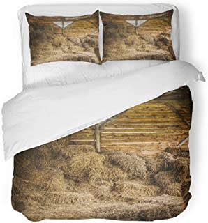 Emvency 3 Piece Duvet Cover Set Breathable Brushed Microfiber Fabric Yellow Stable Dry Hay Stacks in Rural Wooden Barn Interior Inside Door Empty Bedding Set with 2 Pillow Covers Full/Queen Size