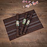 THY COLLECTIBLES Eco-Friendly 18' x 12' Bamboo Table Place mats Non-Slip Table Decor Mats for Kitchen Dining Room Set of 4, Brown & Silver