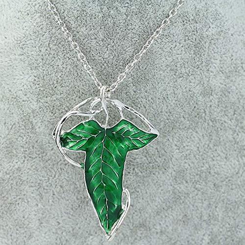 guodong The Silver Color Long Elven Leaf Pendant Arwen Evenstar Pendant Necklace for Men Women Collar Male Female