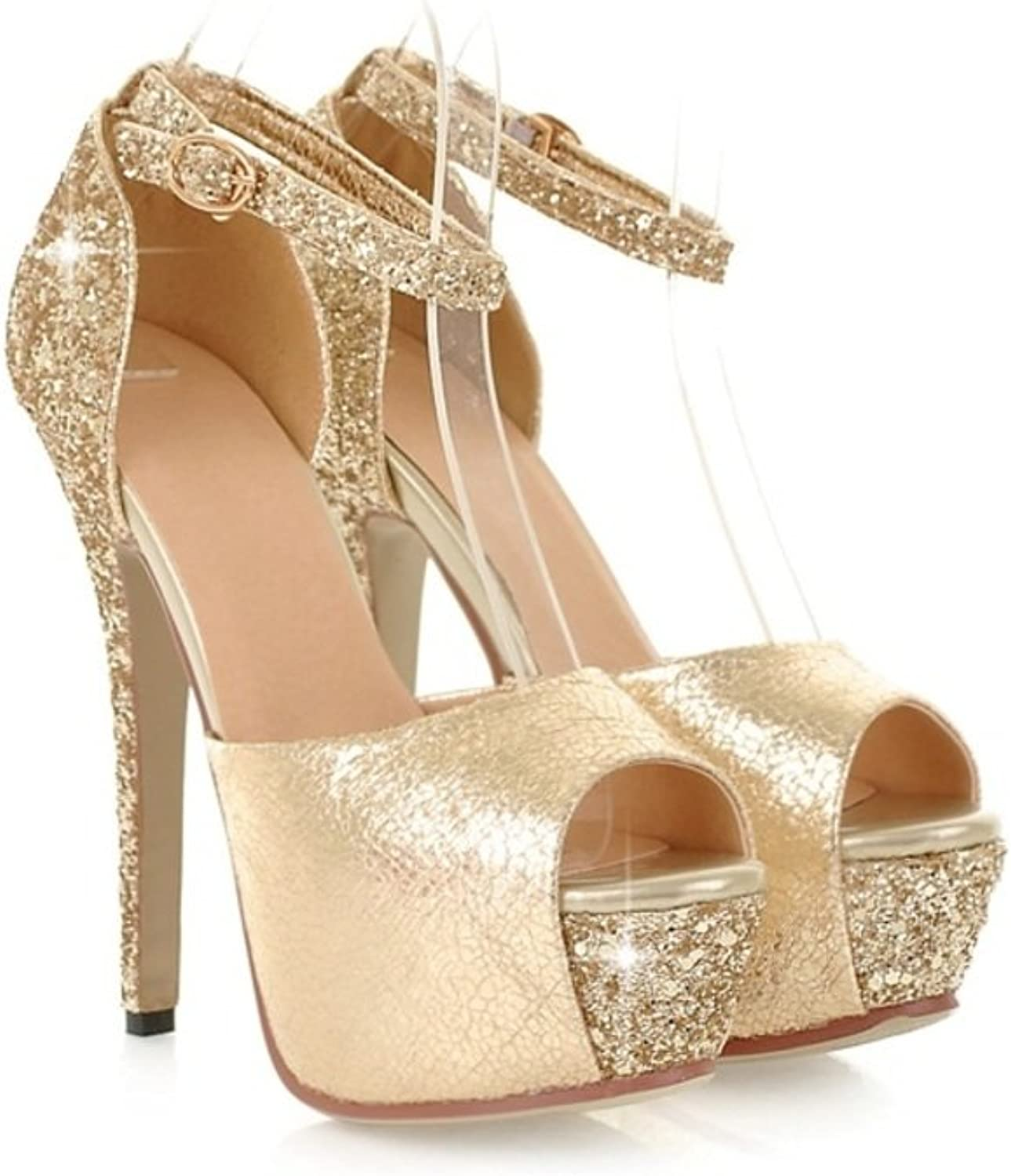 RHFDVGDS Sexy sequined stiletto peep sandals in the summer patent leather waterproof ultra high heel Lady shoes Club high heels