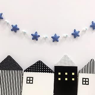 Vimbhzlvigour Pom Pom Bolas Estrellas Guirnalda Niños Habitación Decoración Decoración Decoración Estilo Nórdico, Tela de algodón, Azul