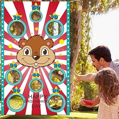 wongmode Cute Groundhog Toss Games Banner Backdrop Indoor or Outdoor Groundhog Day Theme Anniversary Party Decorations Supplies for Kids Family