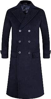 Men's Full Length Wool Blend Trench Coat Fleece Lining Top Overcoat