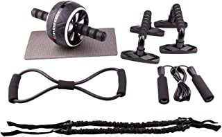 Blarysports Ab Roller wheel with with Jump Rope, Push-Up Bar, 8-shaped Resistance Band,Premium Resistance Bands and Knee M...