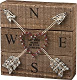 Primitives by Kathy 33187 String Art Box Sign, 6 x 6, Let Your Heart Be Your Compass