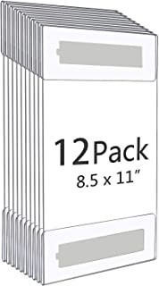 8.5x11 Clear Acrylic Plexi Sign Holders with Tape, Wall Sign Memo Document Menu Holder for Office, Home, Store, Restaurant-No Drilling (12Pack)