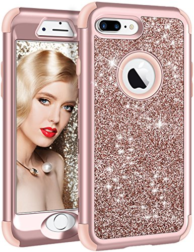 Vofolen Case for iPhone 8 Plus Case iPhone 7 Plus Case Glitter Bling Shiny Heavy Duty Protection Full-body Protective Hard Shell Rubber Bumper Armor with Front Cover for iPhone 8 Plus 7 Plus Rose Gold
