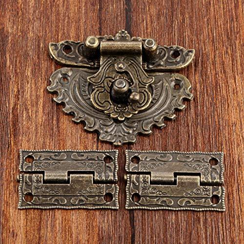 1set muebles antiguos de bronce de hardware Caja pestillo del cerrojo de la hebilla de cierres de muletilla 2Pcs decorativos gabinete Bisagras for la joyería caja de madera ( tamaño : 35*23mm )