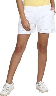 Trend Arrest Women's Cotton White Lace Shorts