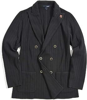 [ラルディーニ] ニットジャケット 6Bダブル ピークドラペル メンズ 春夏 コットン 100% 織 ストライプ ブラック 黒 イタリア ブランド カジュアル ブートニエール付き Mサイズ