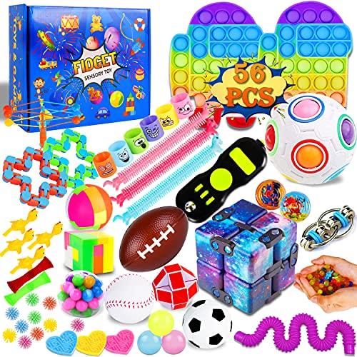 IGINOA 56 Pack Fidget Figetget Figet Sensory Toy Box Set Pop Popping Figit Anxiety Autism Stress...