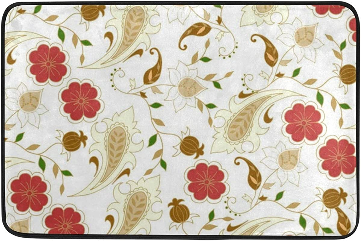 Jacksome Flowers Printed Microfiber Non Slip Kitchen Mat Insulated Non Fading Easy To Clean And Non Toxic Doormat Rug 23 6x15 7 Inch