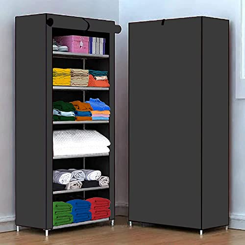 AYSIS Multipurpose 6 Shelve Baby Wardrobe, Foldable, Collapsible Fabric Wardrobe Organizer for Clothes (PVC Plastic a...