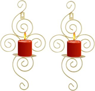 Wall Candle Sconces, Elegant Swirling Iron Hanging Wall Mounted Decorative Candle Holder for Home Decorations, Weddings, Events, 2 Piece, Gold