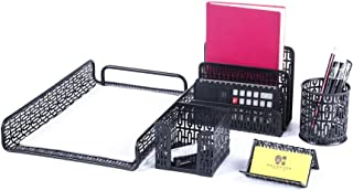 Crystallove Metal Mesh Desk Accessories Office Products Organizer Set of 5pcs-Document Tray, Mail Sorter, Pencil Cup, Memo Holder and Business Card Holder (Black-Style 1)