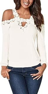 CNFIO Maglia Manica Lunga//Corta Donna Maglietta Rotondo Maniche Lunghe//Corto Maglieria Basic Shirt Eleganti Lady Top Casual Camicetta