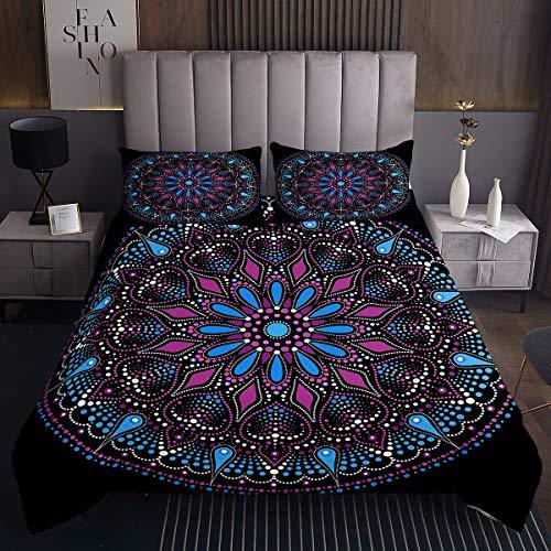 Loussiesd Juego de colcha bohemia de mandala bohemia, colcha de mandala hippie estampado acolchado para niñas y mujeres, cama retro con 2 fundas de almohada