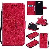 pinlu® PU Leder Tasche Etui Schutzhülle für Microsoft Lumia 650 Lederhülle Schale Flip Cover Tasche mit Standfunktion Sonnenblume Muster Hülle (Rot)
