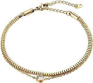 سوار إيبينكي من الفولاذ المقاوم للصدأ سلسلة ذهبية مكعبة زركونيا للنساء الفتيات طول 17+5 سم قابل للتعديل