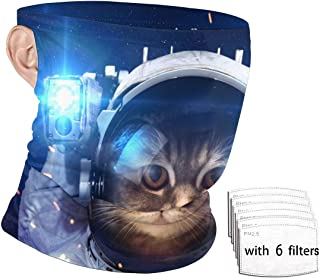 SLHFPX Astronaut Cat Face Mask Bandanas for Men Women with PM2.5 Filter Ear Loop Neck Gaiter Headwear Tube UV Dust Protection Headband Face Cover for Sports, Outdoors