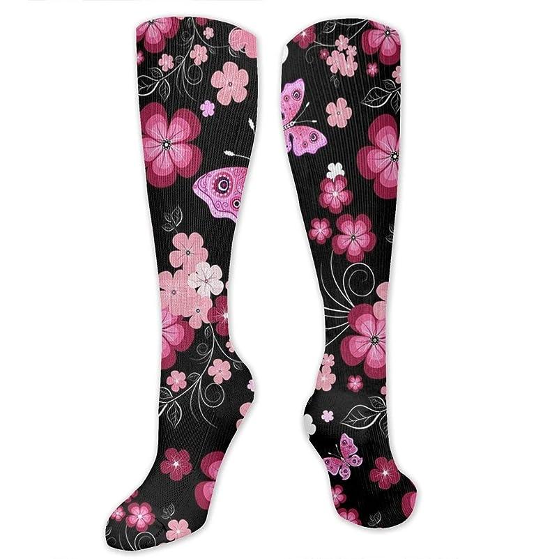 二度数字アラブ男性の女性(20-30 mmHg)のためのQrriy黒い赤い花3 D圧縮靴下