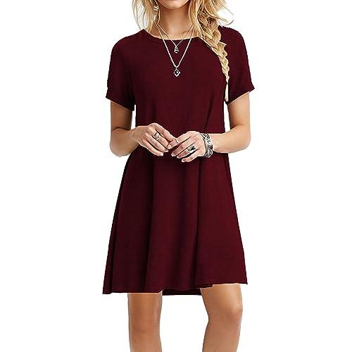 64e2c477b68b MOLERANI Women s Casual Plain Simple T-Shirt Loose Dress