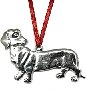 Handmade Dachshund Dog Puppy Christmas Ornament Pewter