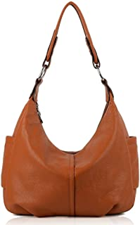 YALUXE Women's Double Zipper Soft Cowhide Leather Purse Shoulder Bag