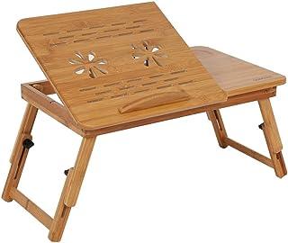 lyrlody Mesa para Ordenador Portátil con Panel de Escritorio Ajustable, Cajón de Almacenamiento y Ranura de Taza, Escritor...