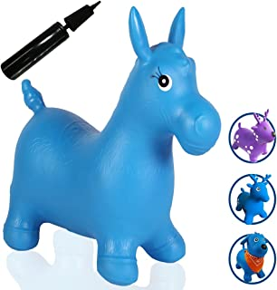 Runyuan Inflatable Jumping Horse for Kids Including Pump-Space Hopper Ride-on Bouncy Animal-Eco-Friendly Birthday Party Toy-Gift for Children
