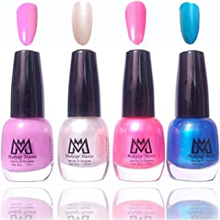 Makeup Mania Premium Nail Polish Exclusive Nail Paint Combo (Nude, Pearl White, Pink, Blue, Pack of 4)