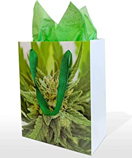 Gift Bag with Tissue, Medium Size, Marijuana Bud Print, with Cotton Handles, for Christmas, Holiday, Birthday, Wedding, Bachelor, and Bachelorette Occasions