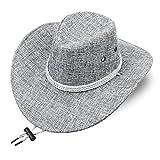 Modello d'auto Visera Exterior Sombrero de Paja para Hombres, Playa de Verano, Sombrero de Vaquero, Sombrero de Sol Transpirable con cinturón de Barbilla (Color : Gray)