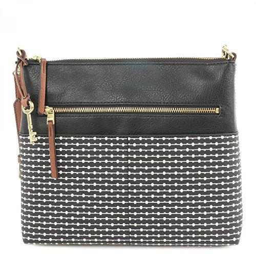 Fossil Fiona L Crossbody Schwarz Weiß Damen Handtasche Tasche Schultertasche Umhängetasche Umhänge Taschen Modern
