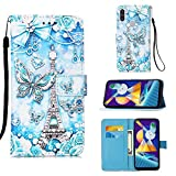 Voanice for Galaxy A11 Case,Premium PU Leather Wallet Protective Case Flip Cover with Card Holder Slots Kickstand Magnetic Full Body Protection Wrist Strap for Samsung Galaxy A11-Butterfly/Tower