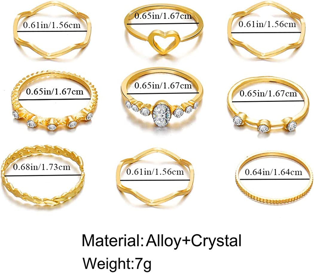 Simsly Vintage Knuckle Gemstone Ring Gold Crystal Joint Knuckle Ring Set with Crystal for Women and Girls 10Pcs