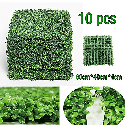 10 Pcs Artificial Ivy Leaf Screening 60x40cm Boxwood Hedge Artificial Plants Mat Privacy Fence Screen Faux Greenery Wall Panels Decorative Suitable for Outdoor Indoor