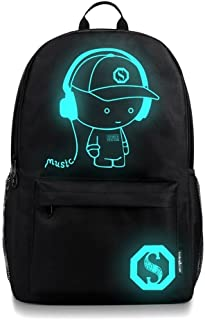 DOLIROX Unisex Cool Boys Girls Outdoor Backpack Anime Luminous Backpack Daypack Shoulder School Bag Laptop Bag (Large, Black A)