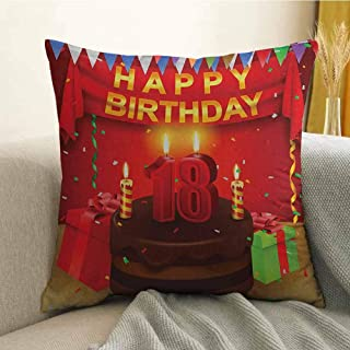 FreeKite 18th Birthday Microfiber 18 Happy Birthday Party with Curtains Cakes Baloons Adulthood Image Sofa Cushion Cover Bedroom car Decoration W18 x L18 Inch Red and Burgundy
