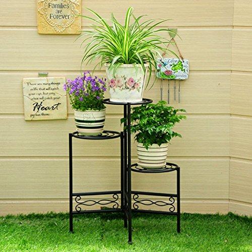 Étagères de porche Porte-grille en fer, étagère à 3 étagères Stand Bonsai Maison Jardin Décor de patio étagère pliable Support de plante de boîte à fleurs ( Couleur : Noir , taille : 45*60CM )